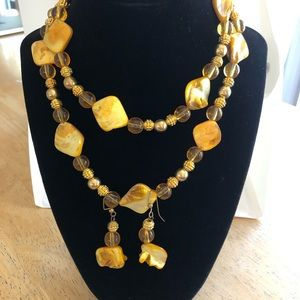Shell + bead necklace + earrings set